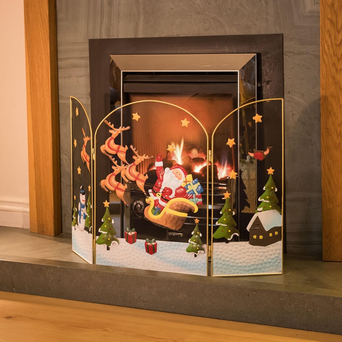 Christmas Themed Fireplace Screen  3 Panel Fireguard Fireplace Screen Santa Sleigh Christmas