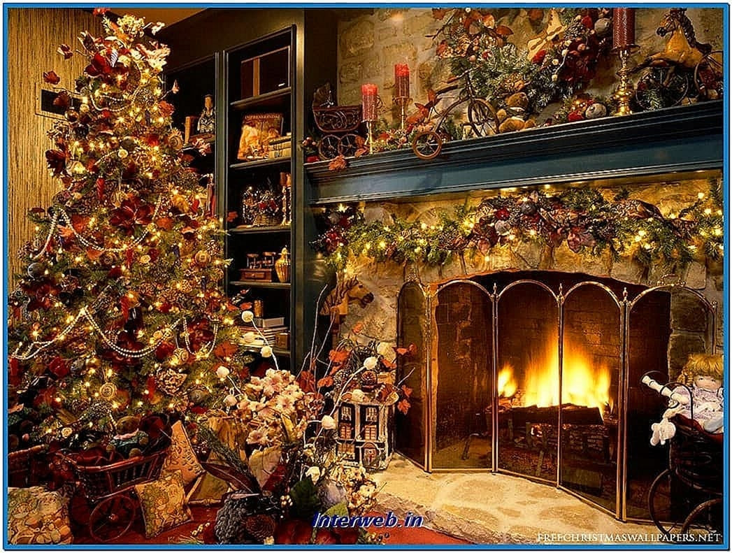 Christmas Themed Fireplace Screen  Animated christmas fireplace screensavers Download free