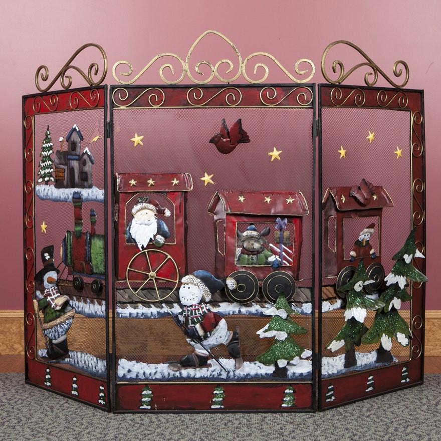 Christmas Themed Fireplace Screen  Christmas Motif Fireplace Screen EBTH