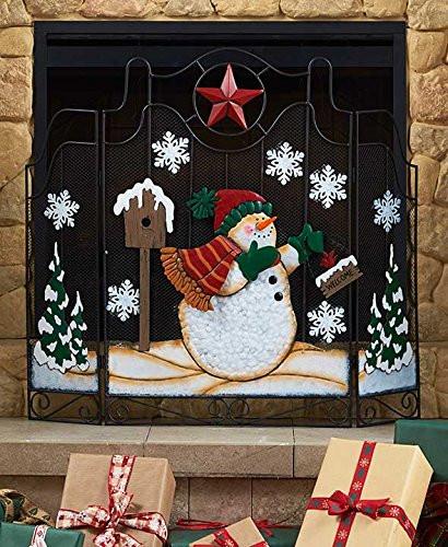 Christmas Themed Fireplace Screen  Holiday Snowman Fireplace Screens HoneyDo Advisor