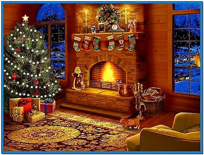 Christmas Themed Fireplace Screen  Christmas themed screensavers Download free