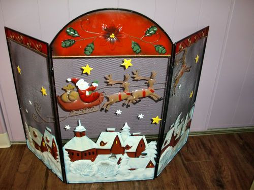 Christmas Themed Fireplace Screen  Details about SANTA CLAUS Twas The Night Before Christmas