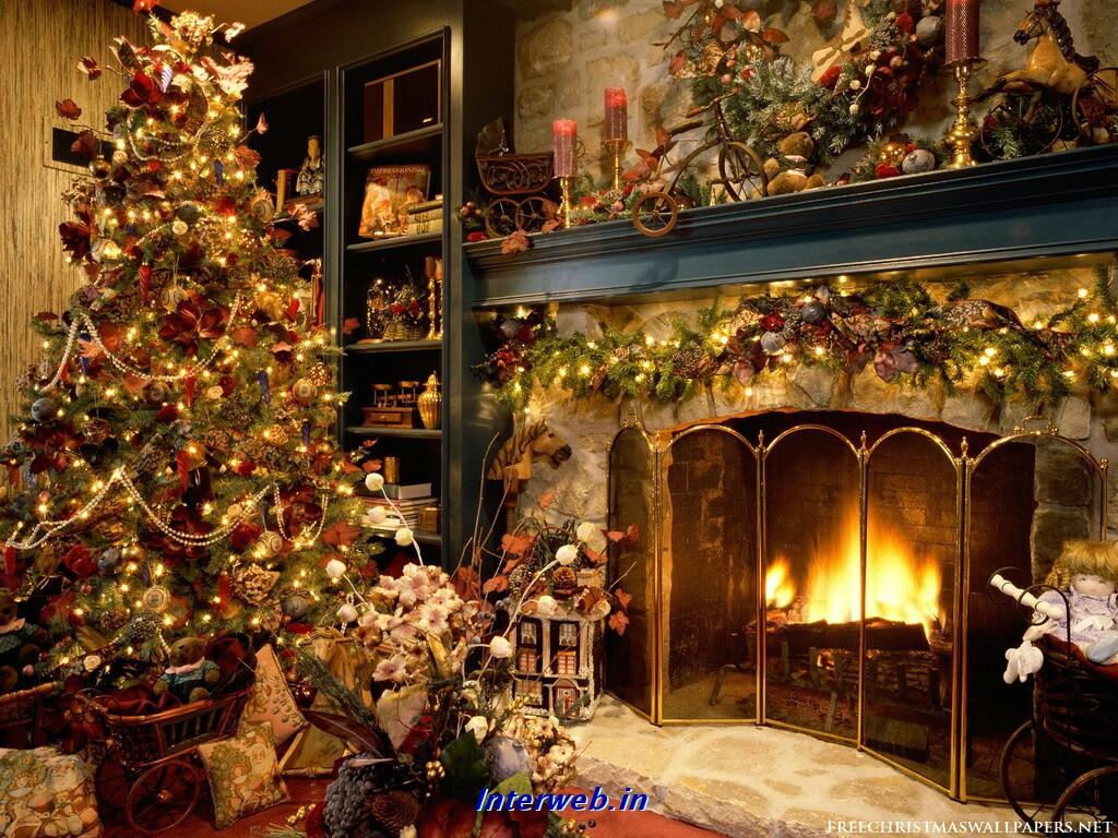 Christmas Tree Fireplace  desktop wallpapers ANIMATED