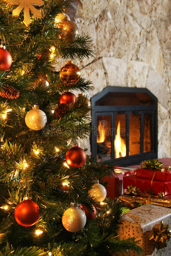 Christmas Tree Fireplace  Christmas Tree And Fireplace Stock Image Image