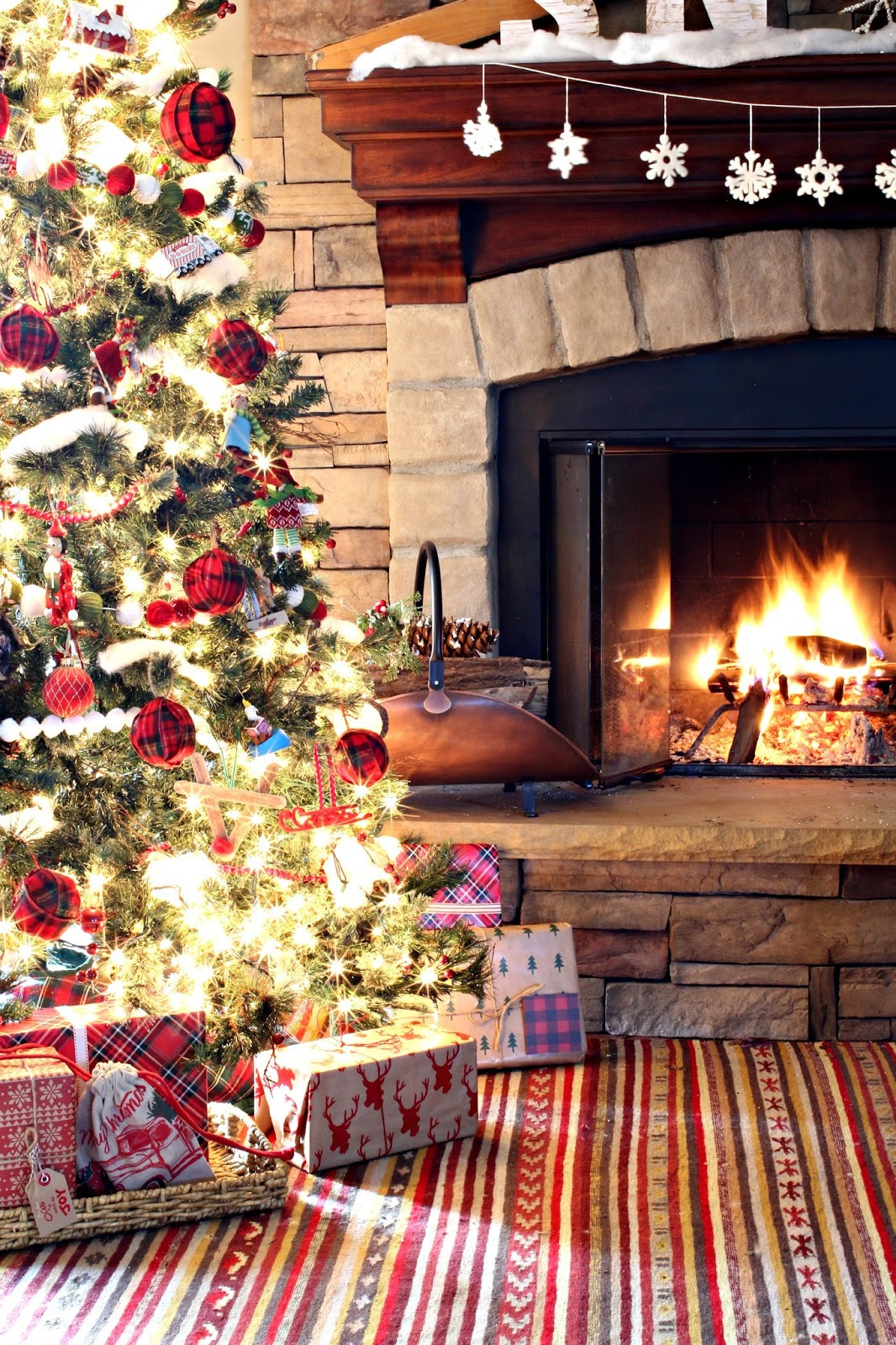 Christmas Tree Fireplace  Golden Boys and Me Easy Plaid Ornaments & Our Family Room