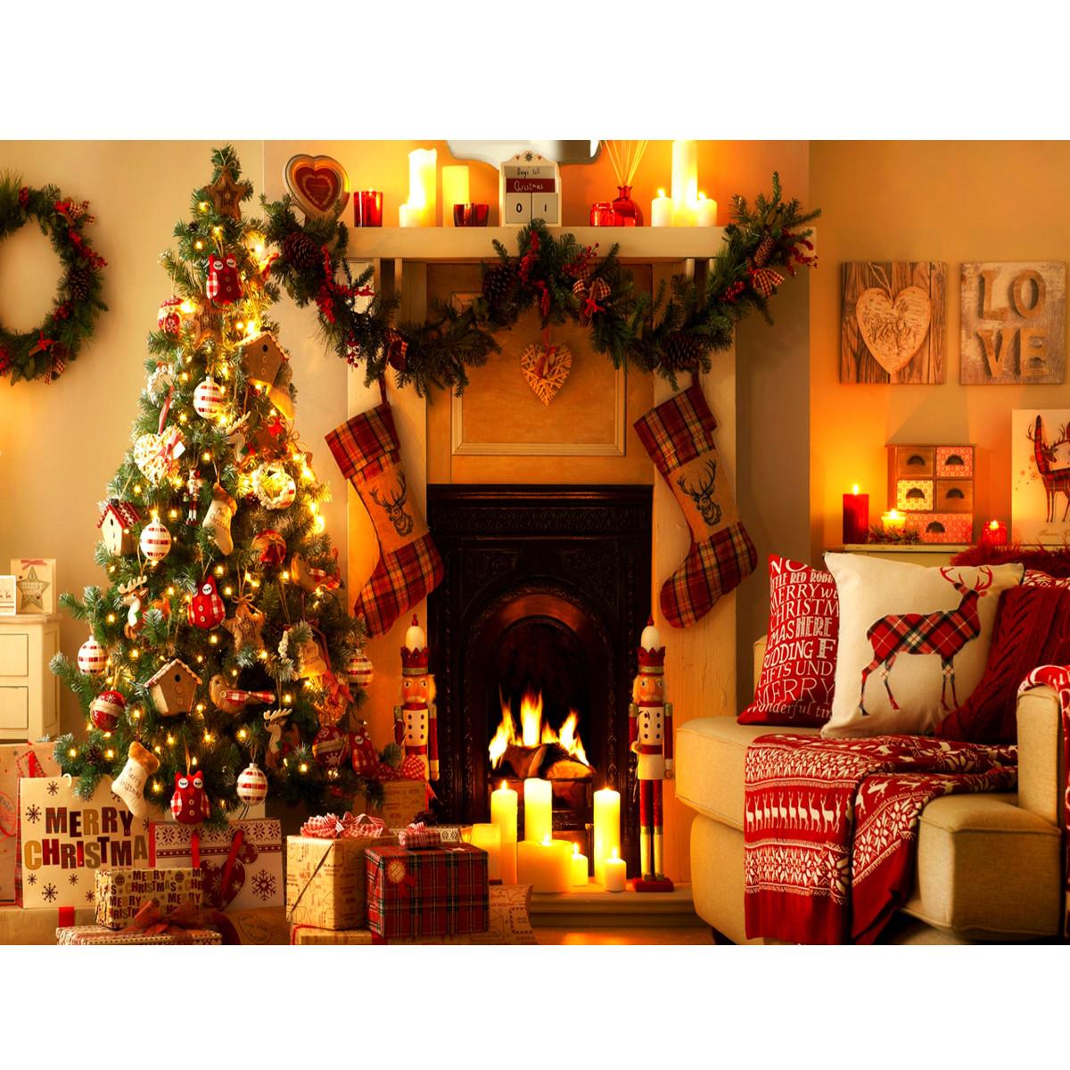 Christmas Tree Fireplace  5x7ft Vinyl Warm Light Christmas Tree Fireplace Stocking