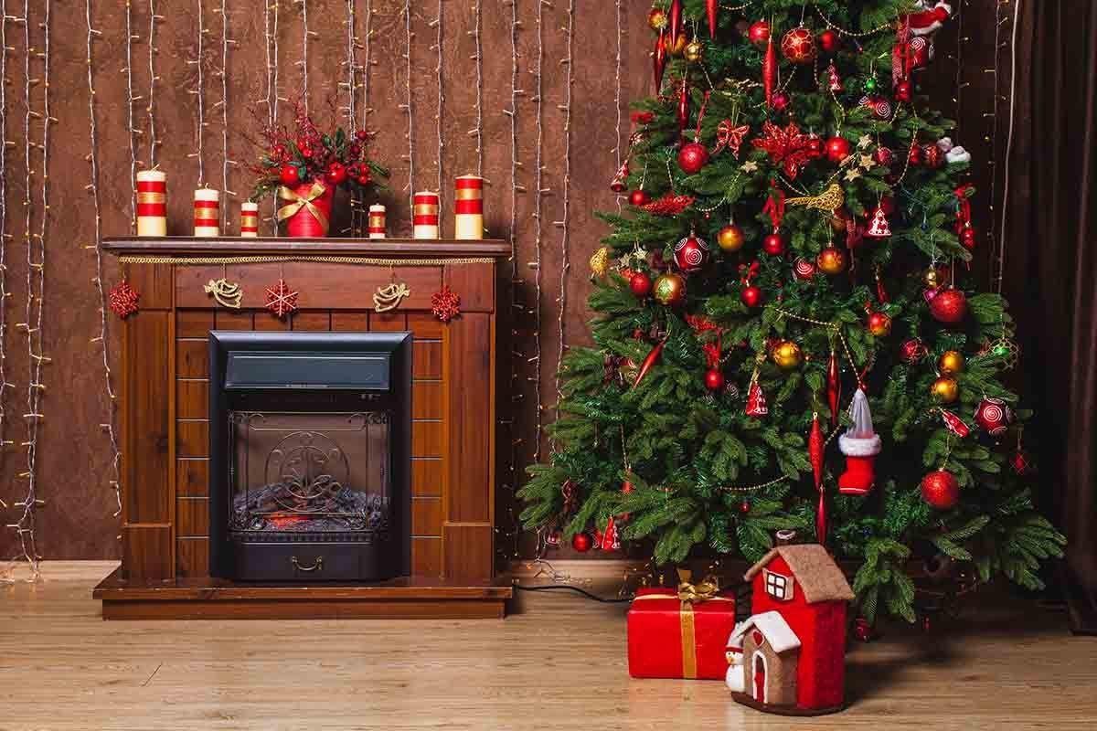 Christmas Tree Fireplace  Brown Fireplace Christmas Tree Indoor For Christmas