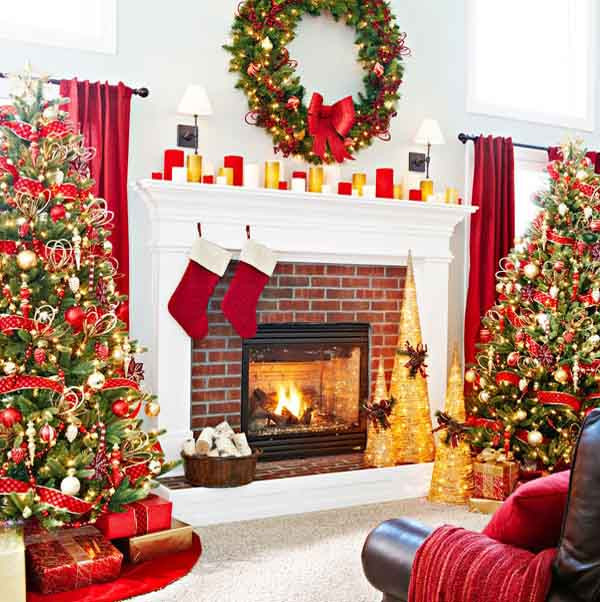 Christmas Tree Fireplace  50 Most Beautiful Christmas Fireplace Decorating Ideas