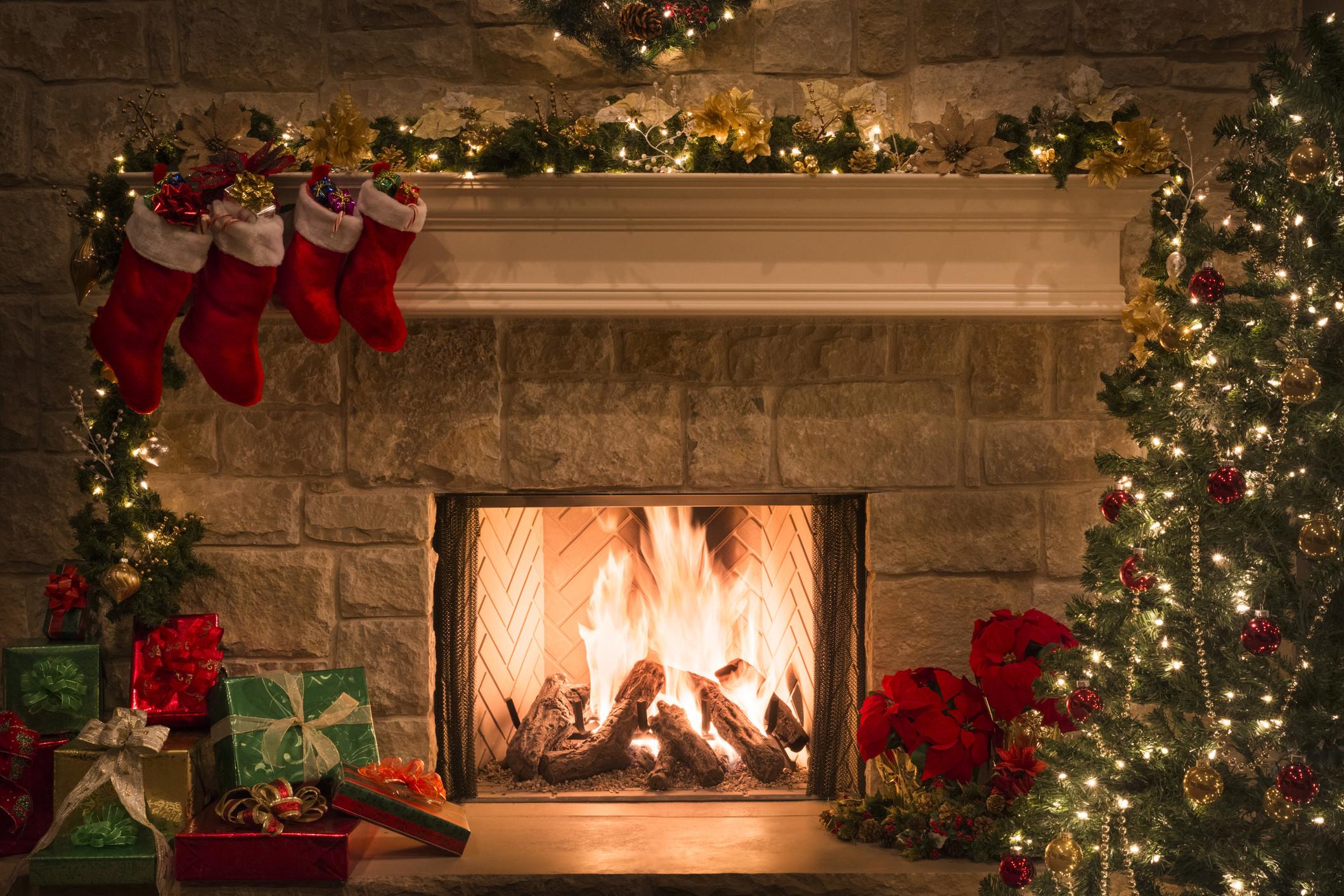 Christmas Tree Fireplace  Christmas fireplace stockings ts tree copy space