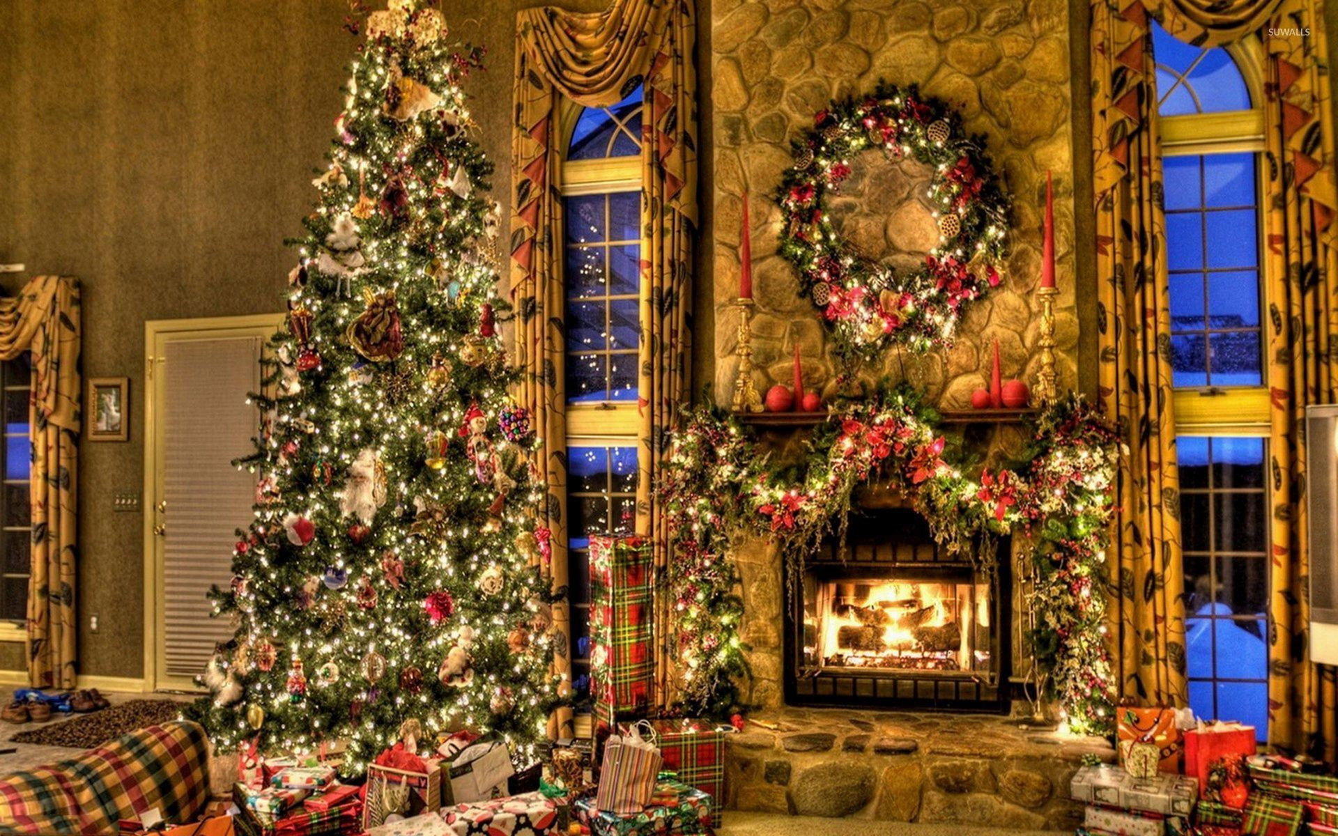 Christmas Tree Fireplace  Christmas Fireplace Wallpaper ·① WallpaperTag