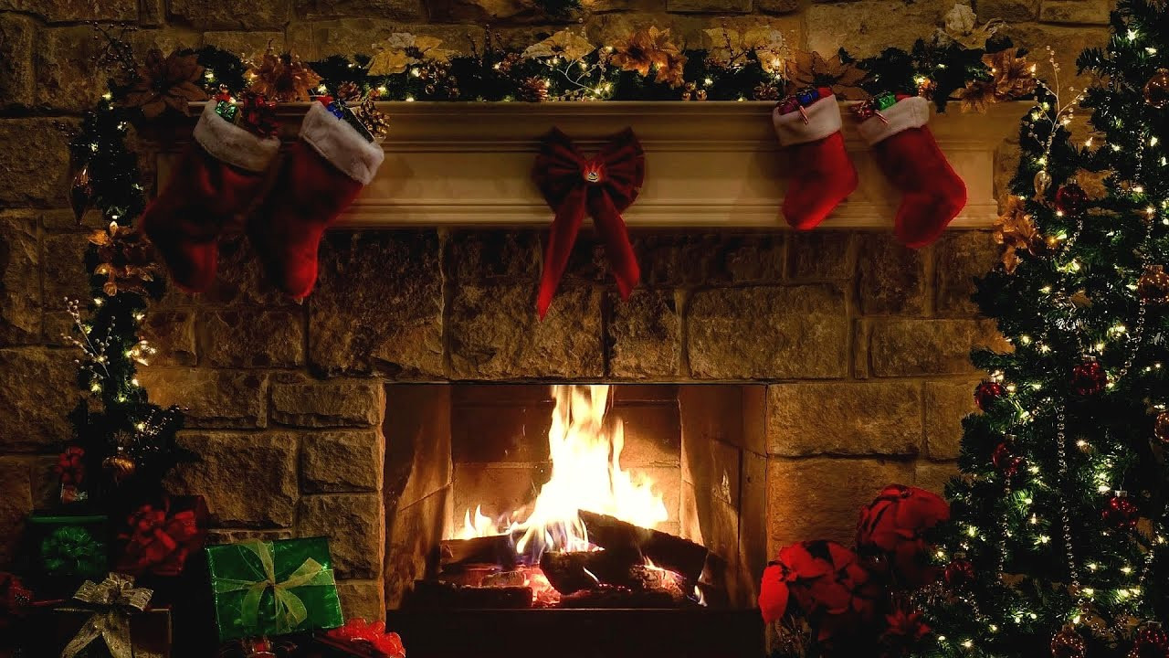 Christmas Tree Fireplace  Christmas Fireplace Scene with Crackling Fire Sounds 6