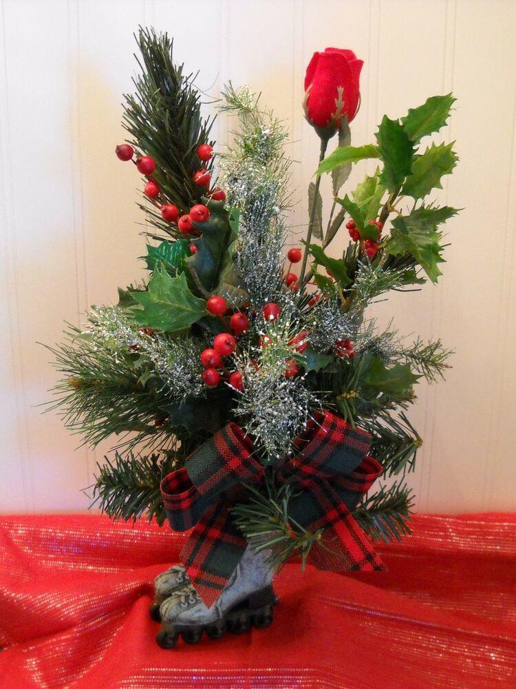 "Christmas Tree Flower Arrangement  Christmas Tree ""Antique Roller Skates"" Floral Centerpiece"