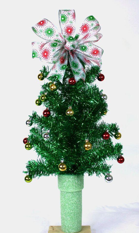 Christmas Tree Flower Arrangement  Tinsel tree Flower arrangements and Vase on Pinterest