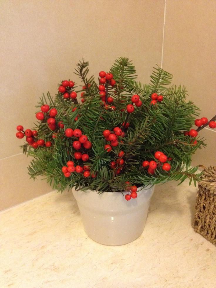 Christmas Tree Flower Arrangement  Christmas flower arrangement using a broken branch from