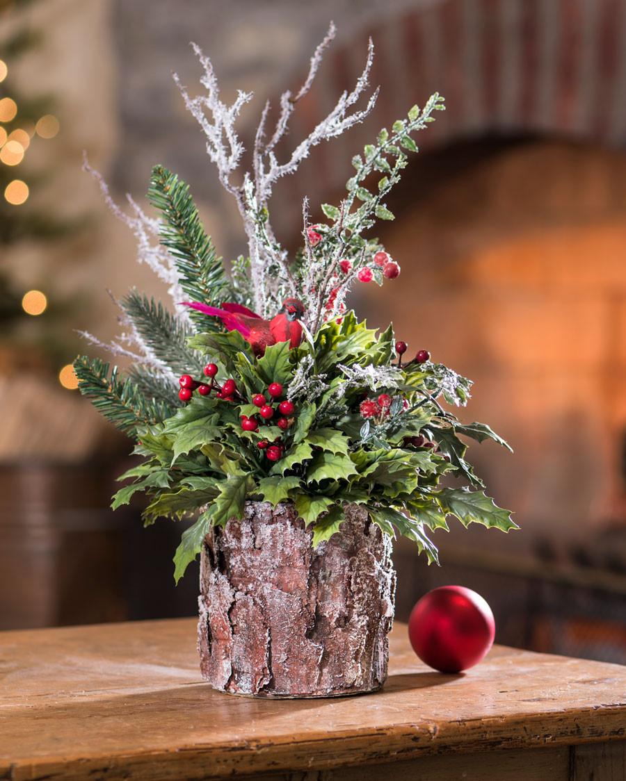 Christmas Tree Flower Arrangement  Woodland Holly Holiday Silk Arrangement at Petals