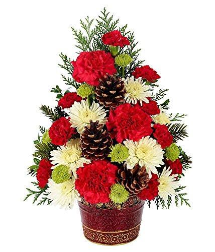 Christmas Tree Flower Arrangement  Holiday Flowers – Christmas Tree Celebration