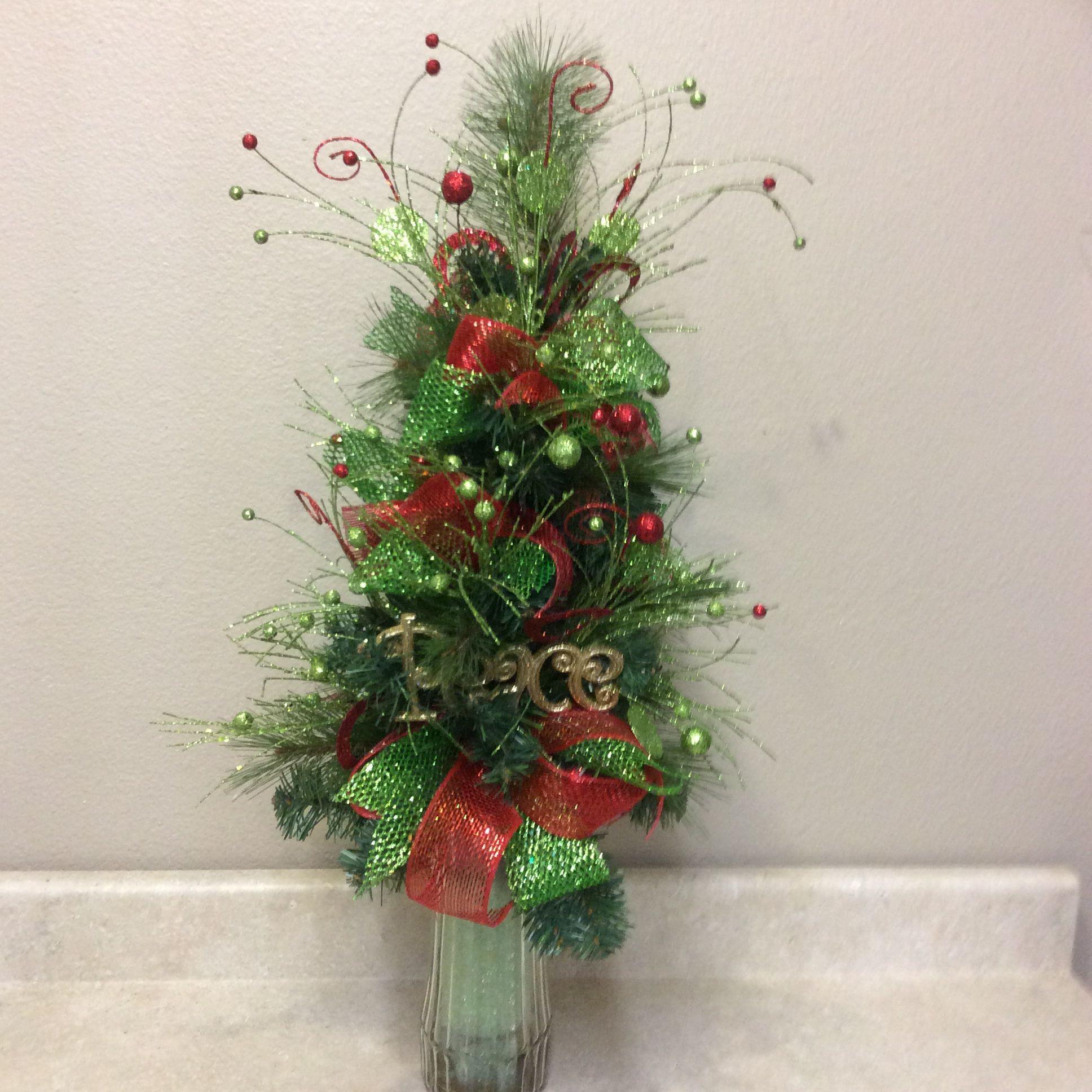 "Christmas Tree Flower Arrangement  ""Little Tree"" Cemetary arrangement"