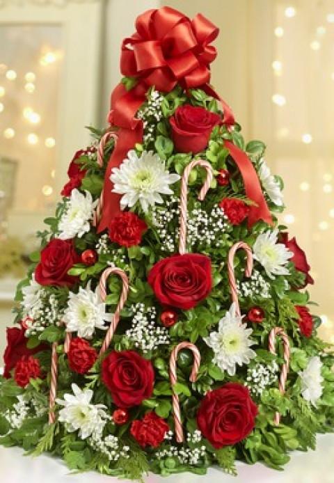 Christmas Tree Flower Arrangement  Holiday Flower Tree