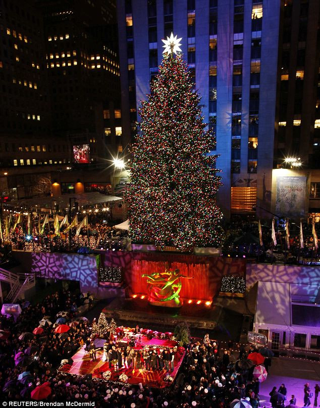 Christmas Tree Lighting Nyc  Rockefeller Center Christmas Tree lights go on as Shakira