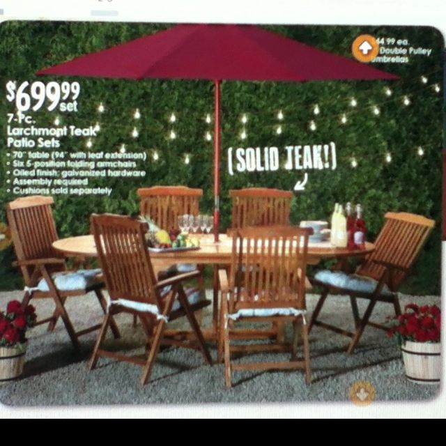 Christmas Tree Shop Patio Furniture  7 pc teak outdoor dining set via christmas tree shops $699