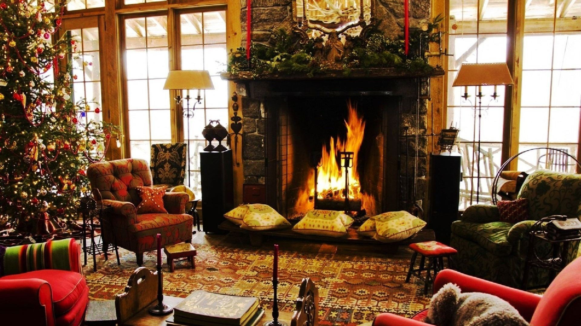 Christmas Wallpaper Fireplace  Christmas Chimney Wallpapers Wallpaper Cave