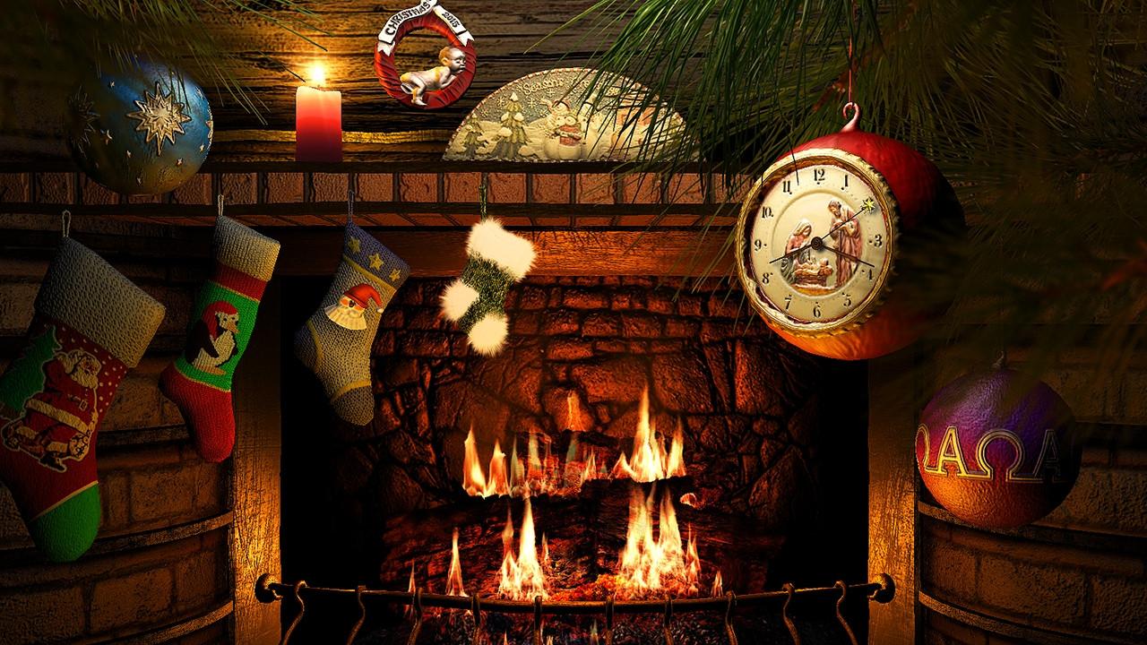 Christmas Wallpaper Fireplace  Fireside Christmas 3D Screensaver & Live Fireplace