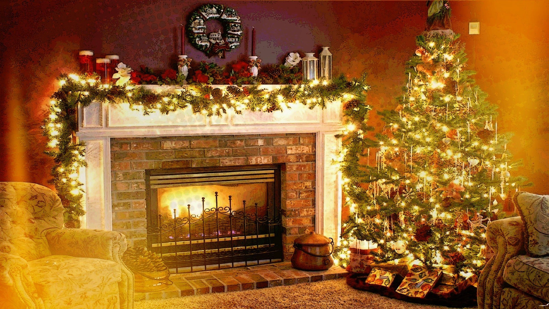 Christmas Wallpaper Fireplace  Christmas Fireplace Background ·① WallpaperTag