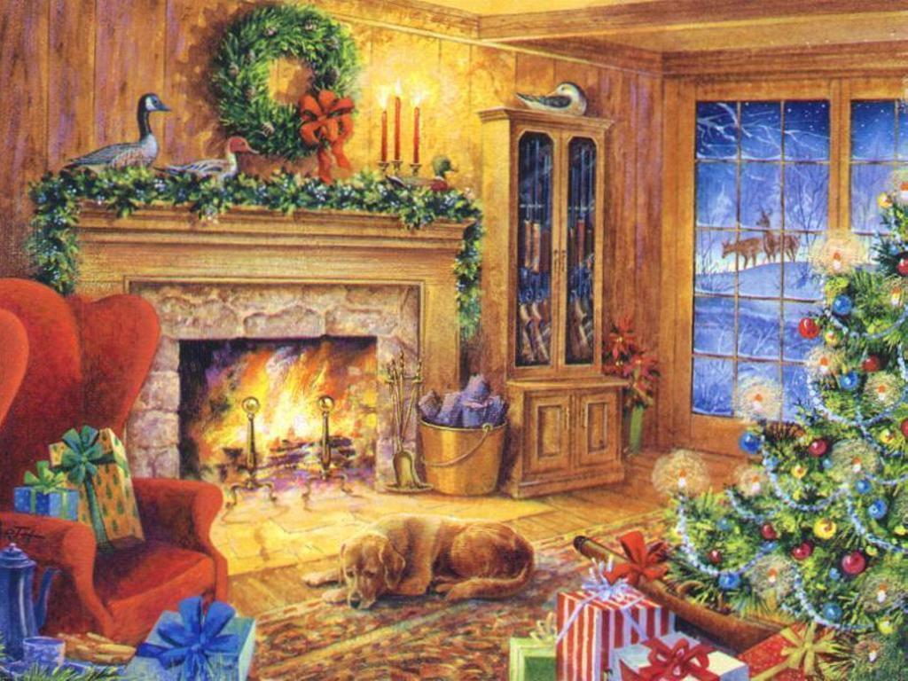 Christmas Wallpaper Fireplace  Christmas Fireplace Wallpapers Wallpaper Cave