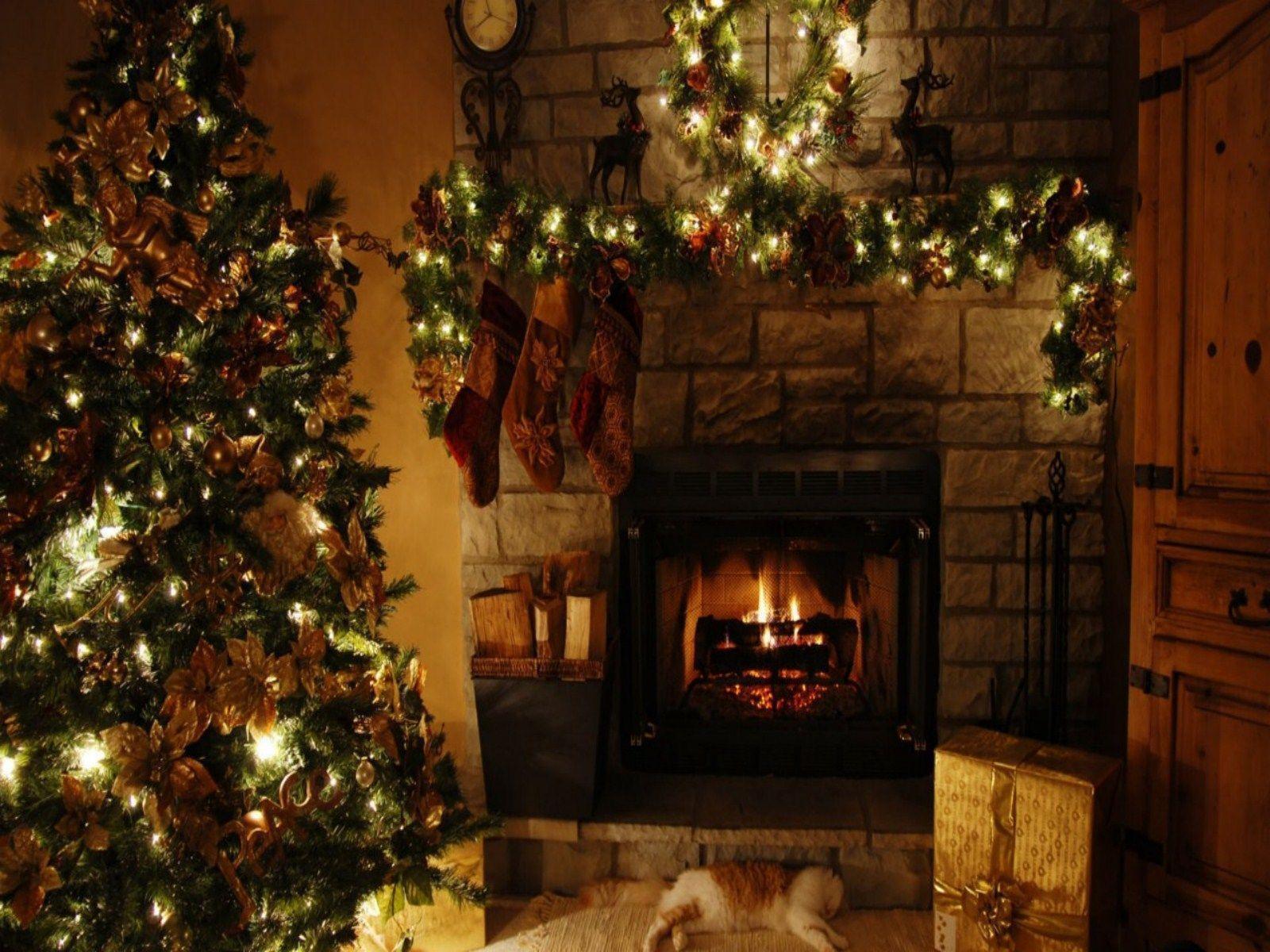Christmas Wallpaper Fireplace  Christmas Fireplace Backgrounds Wallpaper Cave