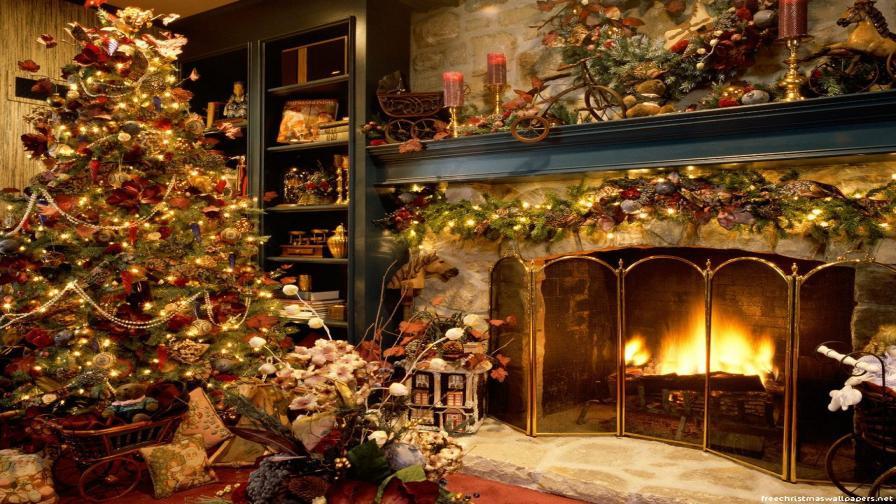 Christmas Wallpaper Fireplace  Christmas Tree And Fireplace Wallpaper