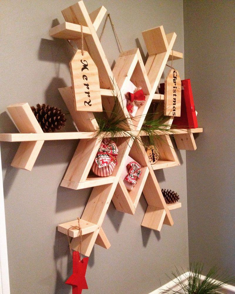 Christmas Wood Art  Let It Snow My DIY Wooden Snowflake Shelf