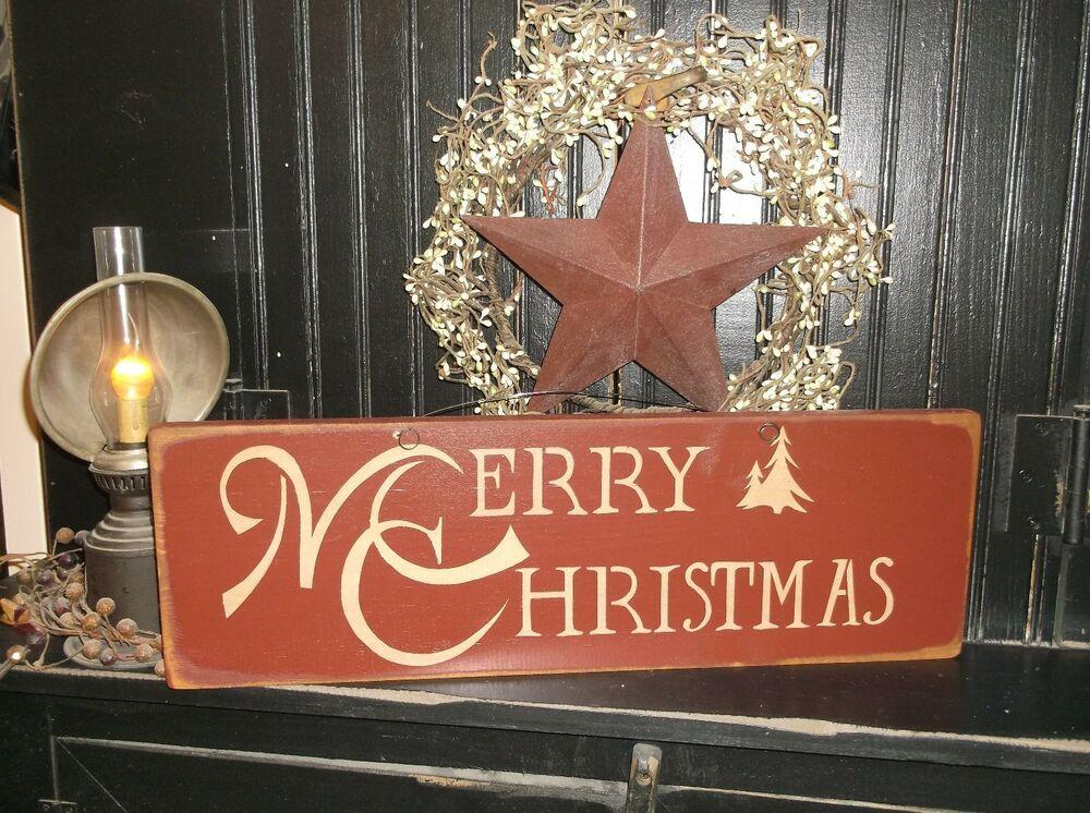 Christmas Wood Art  MERRY CHRISTMAS Wood Sign Rustic Prim Wall Decor Holiday