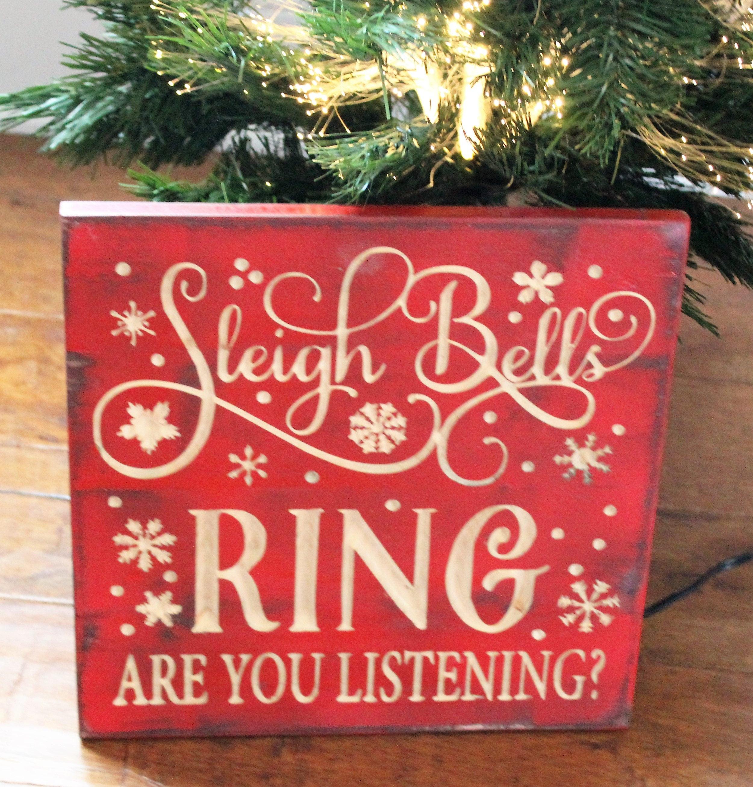 Christmas Wood Art  Sleigh Bells Carved Wood Wall Art Rustic Christmas Signs