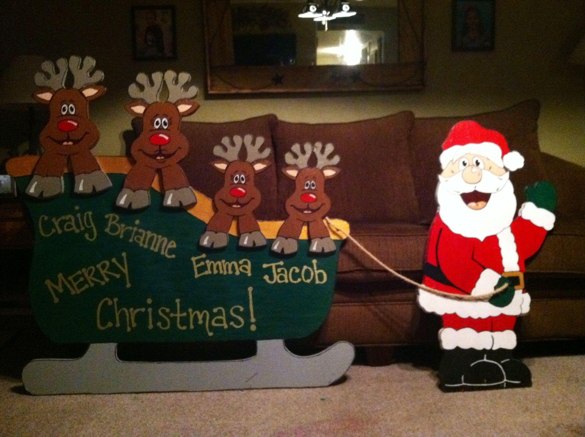 Christmas Wood Art  Wooden yard art Christmas sleigh with reindeer and Santa