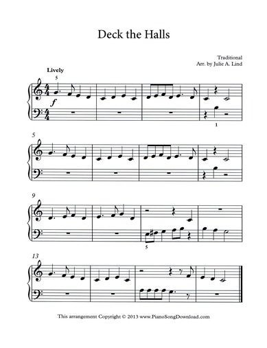 Deck The Halls Christmas Song  Deck the Halls free Christmas music for beginning piano