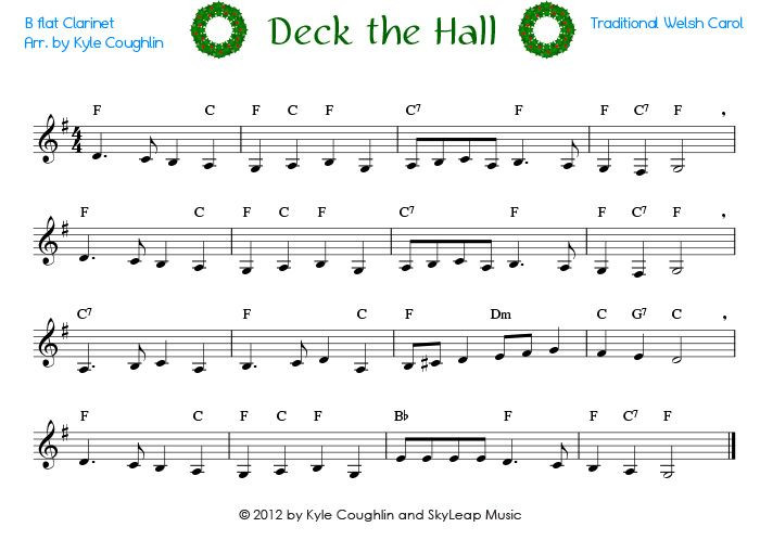 Deck The Halls Christmas Song  Deck the Halls for the clarinet free printable PDF