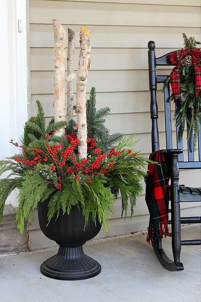 Decorating Porch For Christmas  How To Make Outdoor Christmas Planters House of Hawthornes
