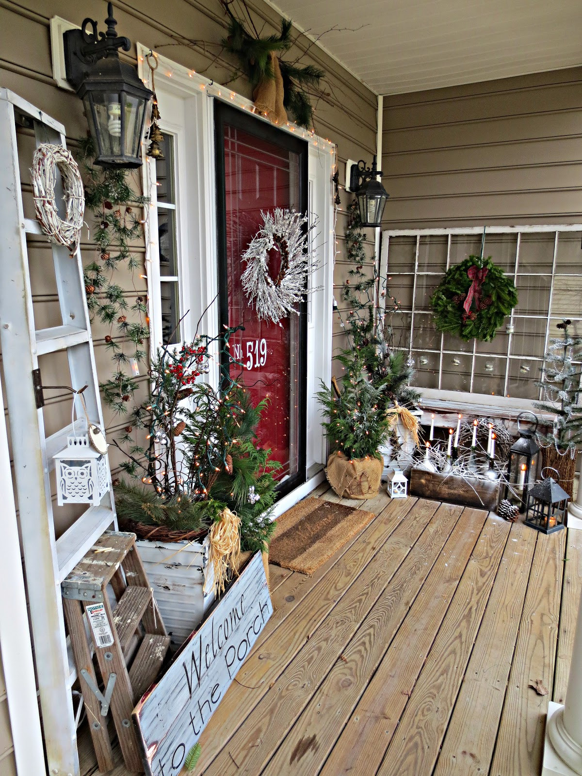 Decorating Porch For Christmas  Down to Earth Style Wintery Wel e & Wine