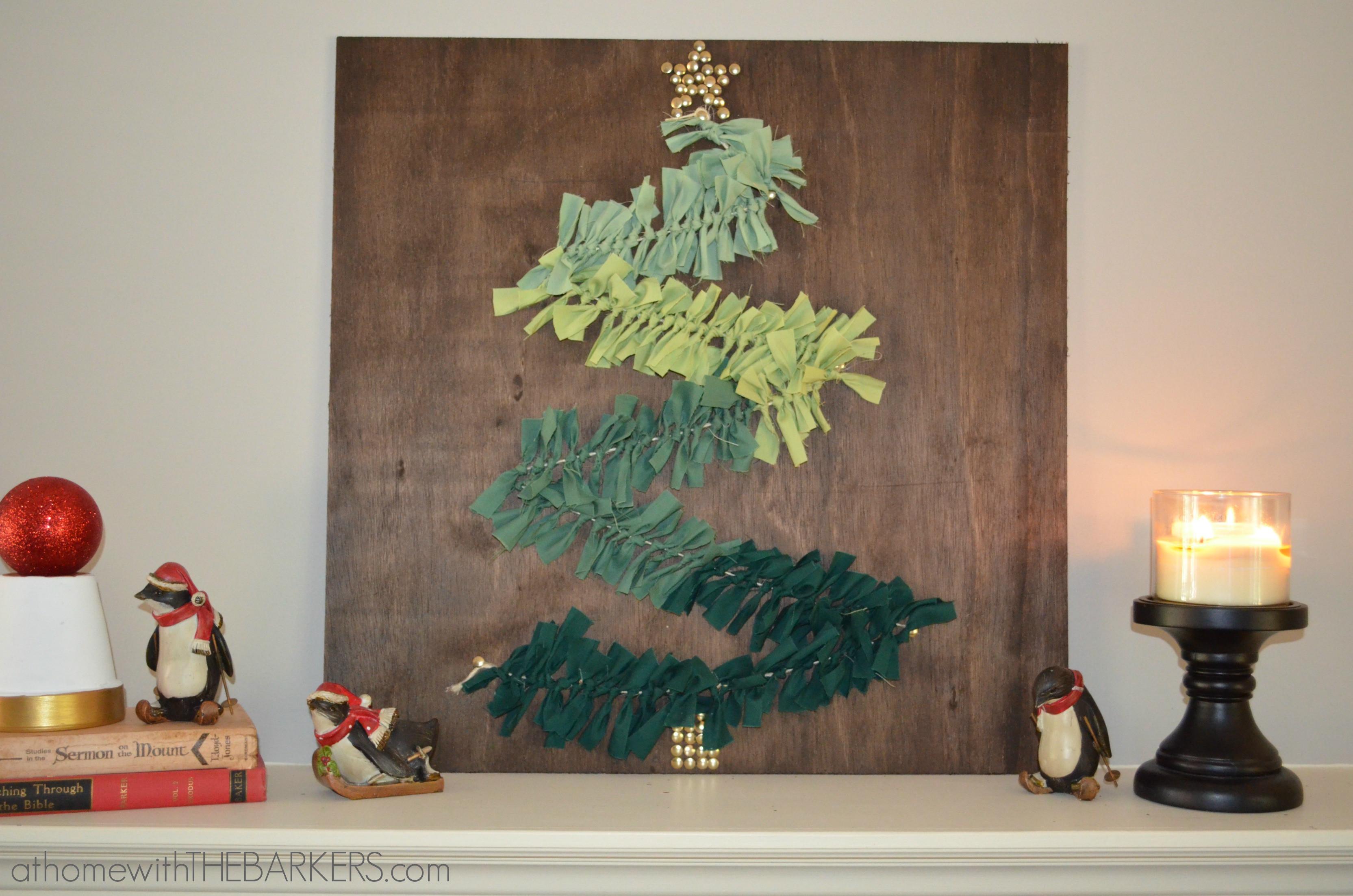 Diy Christmas Wall Art  DIY Christmas Tree Wall Art on Mantel At Home with The