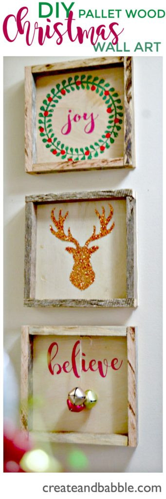 Diy Christmas Wall Art  DIY Pallet Wood Shadow Box Create and Babble