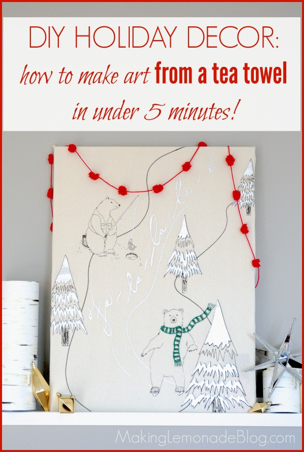Diy Christmas Wall Art  Easy Christmas Art Idea Tea Towel Wrapped Canvas