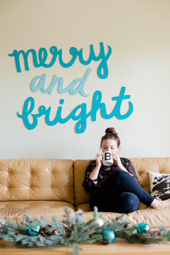 Diy Christmas Wall Art  Make This Merry & Bright Holiday Wall Art DIY Paper and