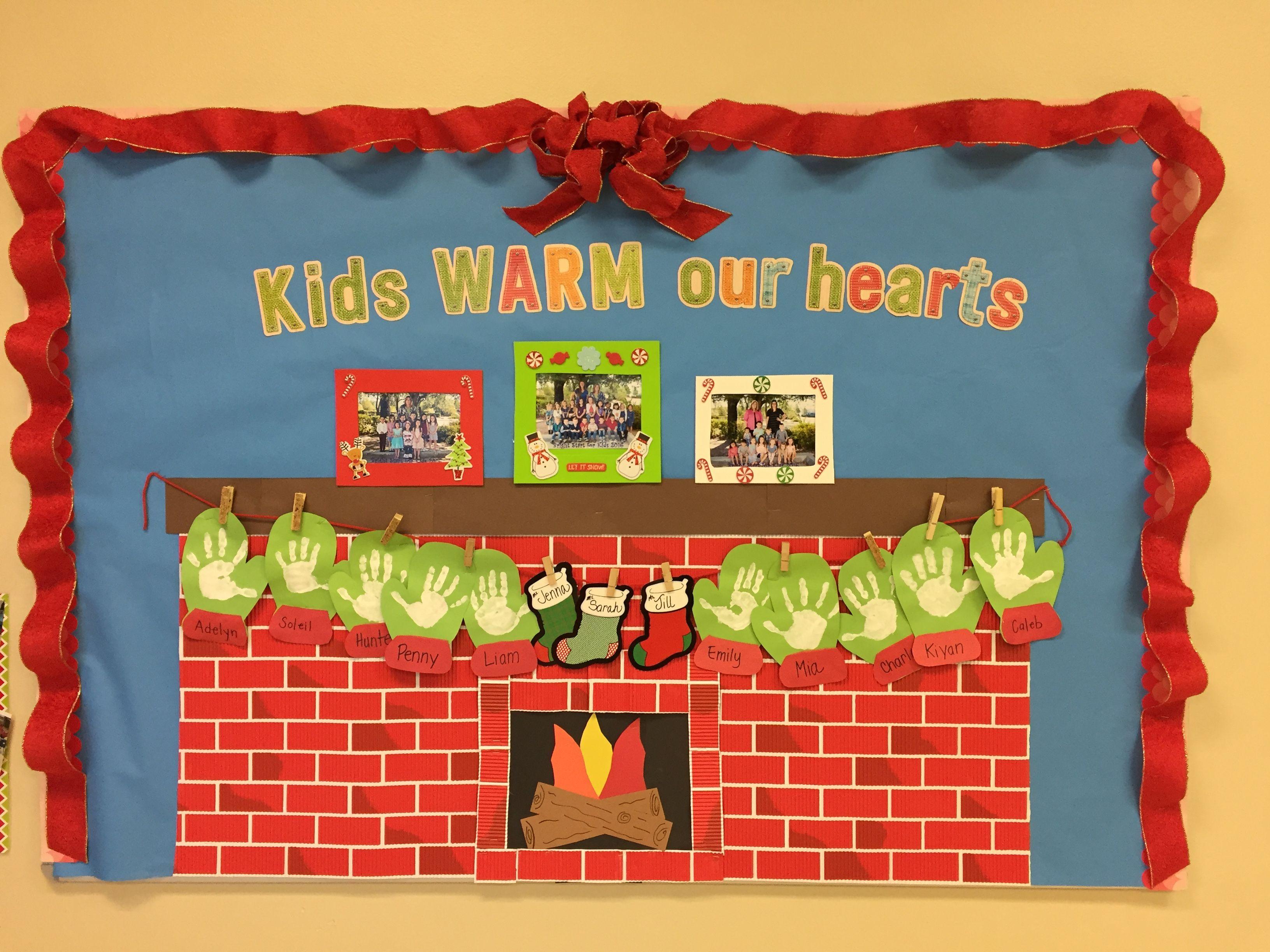 Fireplace Bulletin Board Christmas  Preschool fireplace bulletin board for Christmas kids