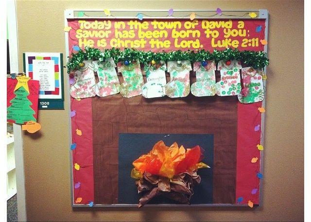 Fireplace Bulletin Board Christmas  christmas bulletin board ideas
