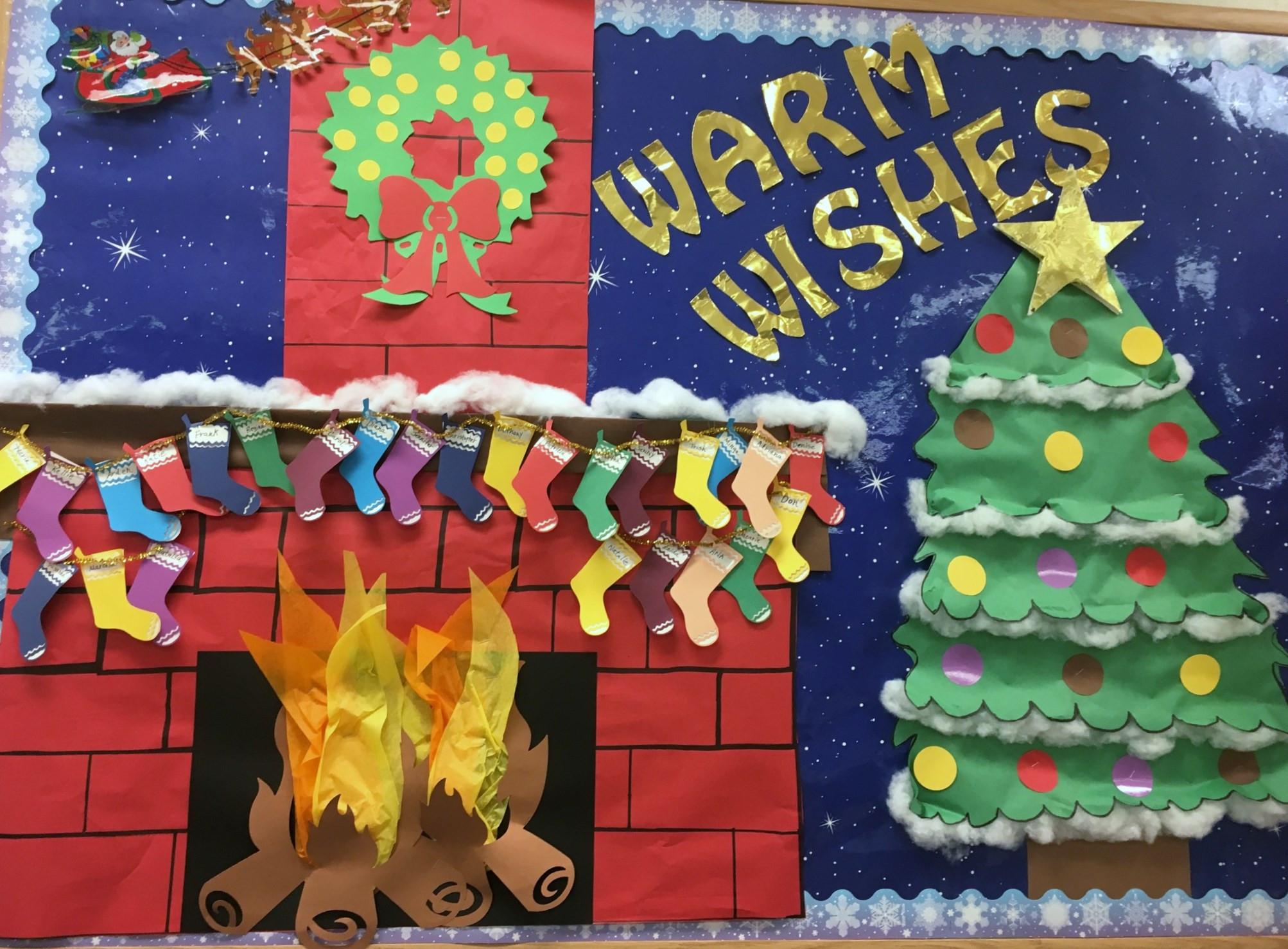 Fireplace Bulletin Board Christmas  Bulletin Boards General