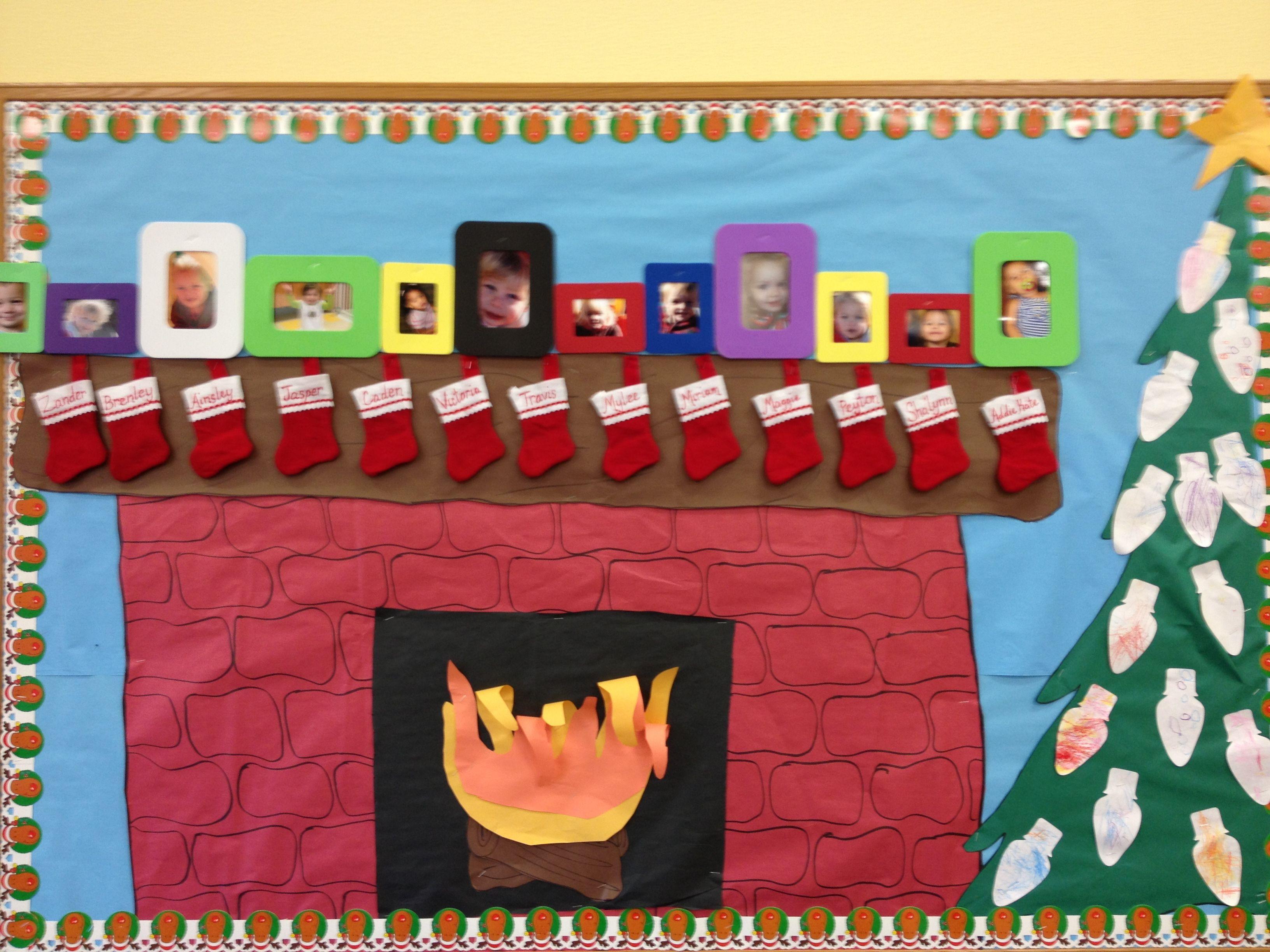 Fireplace Bulletin Board Christmas  Christmas fireplace bulletin board School ️