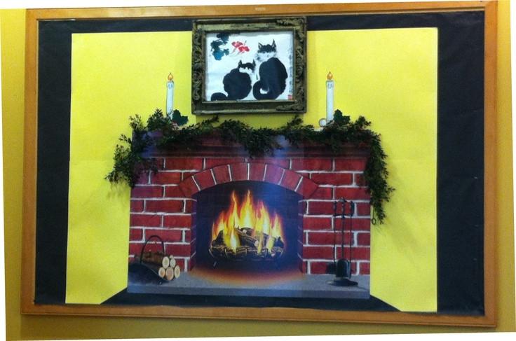 Fireplace Bulletin Board Christmas  Fireplace December 2012 bulletin board