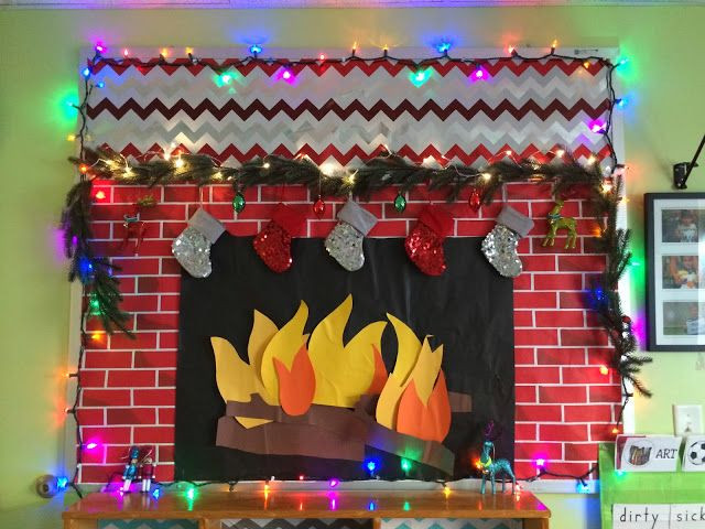 Fireplace Bulletin Board Christmas  Happy Holidays Bulletin Board with working lights Fake