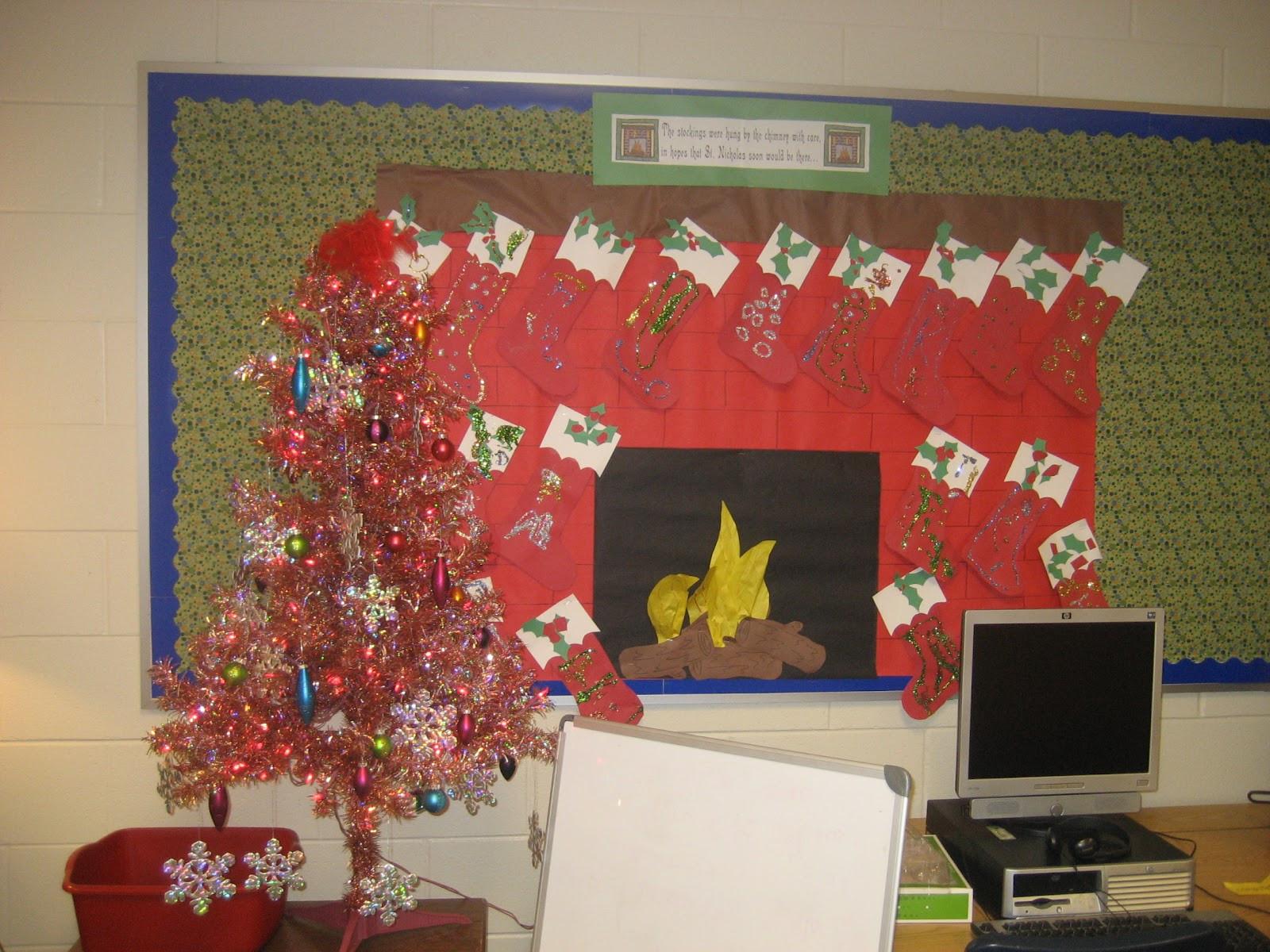 Fireplace Bulletin Board Christmas  Kinder Doodles Bulletin Boards
