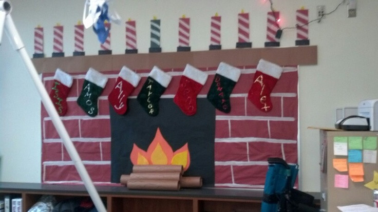 Fireplace Bulletin Board Christmas  Fireplace made out of paper